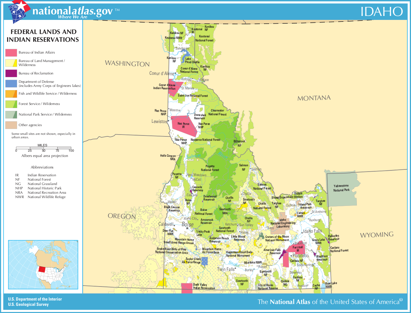 Map of Idaho (Map Federal Lands and Indian Reservations ...